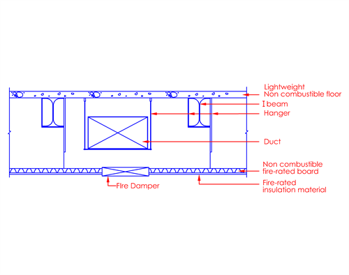 Ducting above fire-rated ceiling or roof ceiling construction