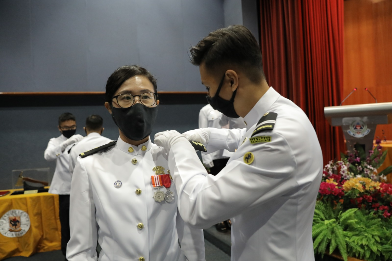 LTA Janice Lee receiving her new rank at the RCC closing ceremony in June 2020.