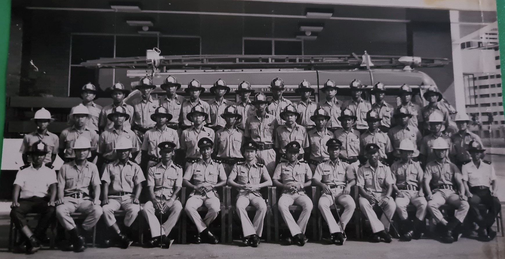 Recruit Md Salleh (second row, fourth person from the left) joined the Singapore Fire Brigade in 1975.