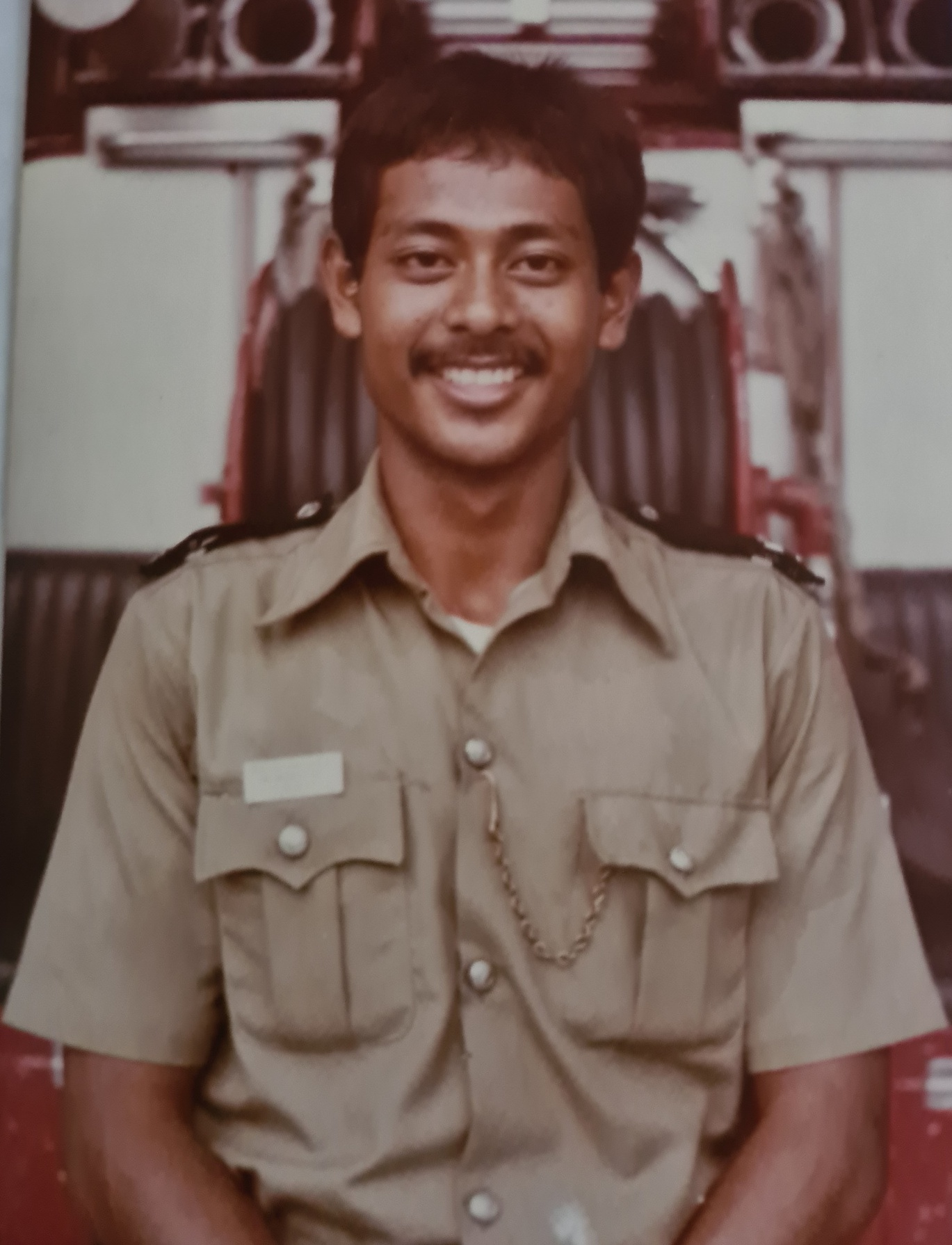 This picture was taken when SWO (RET) Md Salleh assumed the role  of a Leading Fireman No. 5 (a rank structure of the past).