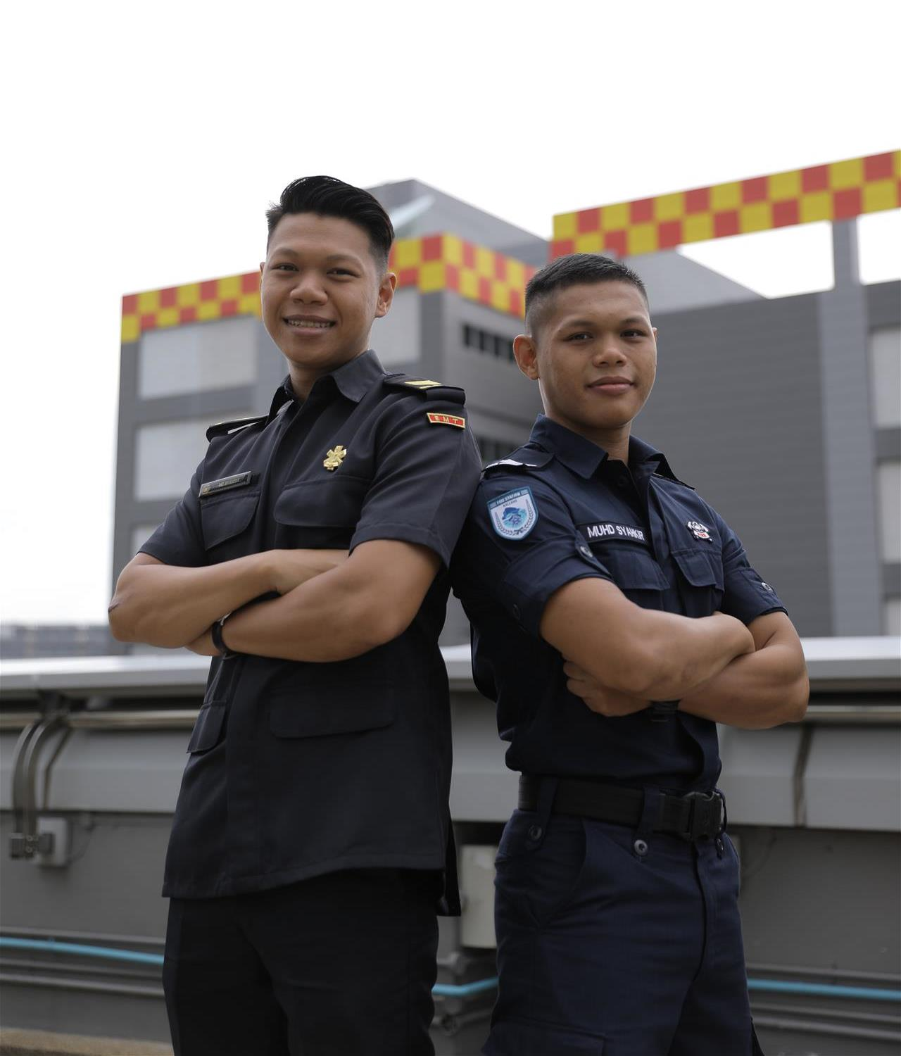 SGT3 Syahrir (left) is an Emergency Medical Technician section commander from Yishun Fire Station while SGT2 Syahkir (right) is a Fire & Rescue Specialist from Kallang Fire Station.