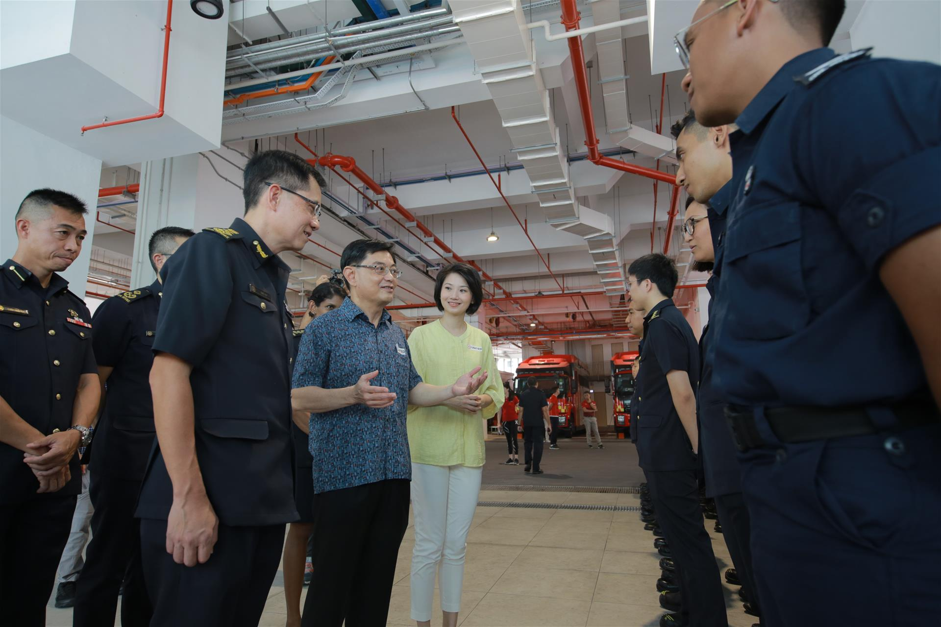Mr Heng Swee Keat, Deputy Prime Minister and Minister for Finance interacted with the SCDF personnel who have been deployed at the frontline since the start of the COVID-19 outbreak.